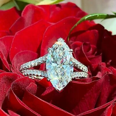 3 Ct Marquise & Round Cut Diamond 14K White Gold Fn Solitaire Engagement Ring