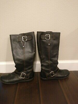 e1c78047570a Born BOC Riding Boots Black Leather Tall Zip Up Knee High Womens Size 9