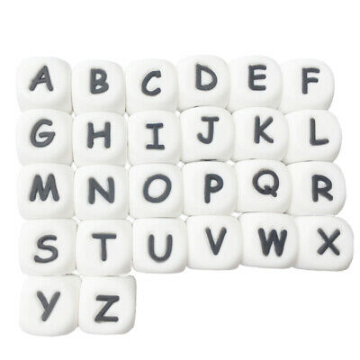 100Pc/Bag Silicone Letter Beads For Insert Name On Pacifier Chain Clips 12M T7N2