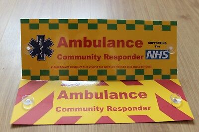 Ambulance Community Responder On Call Temporary Awareness Front and Rear Sign