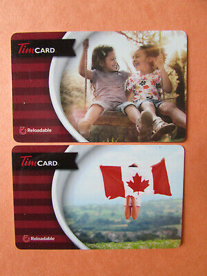 2015 Tim Hortons Collectible Gift Cards No Value Canada Flag Girls Swing Unused