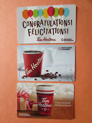 Tim Hortons Coffee Cups Collectible Gift Cards No Value Canada 3 Cards