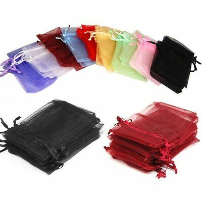 100Pcs Organza Wedding Party Favor Decor Valentine Gift Candy Sheer Bags Pouches