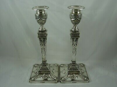 MAGNIFICENT  pair,  solid silver EDWARDIAN CANDLESTICKS, 1907
