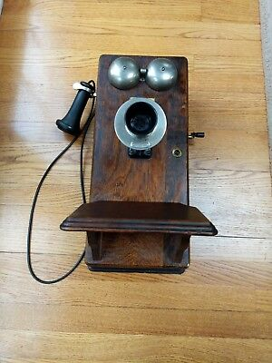 Antique Western Electric Wall Crank Telephone Wooden Phone