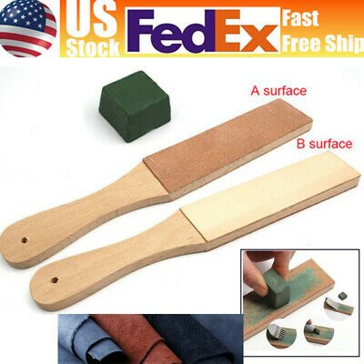 1Set Dual Sided Leather Blade Strop Knife Razor Sharpener&Polishing Compounds