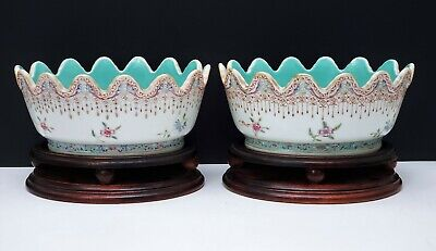 Pair Antique Chinese Guangxu Famille Rose Porcelain Planters Bowls w Wood Stands