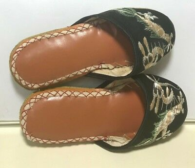 "Vintage Pair 6"" Asian Shoes Silk Embroidered Leather Soles circa 1920's"