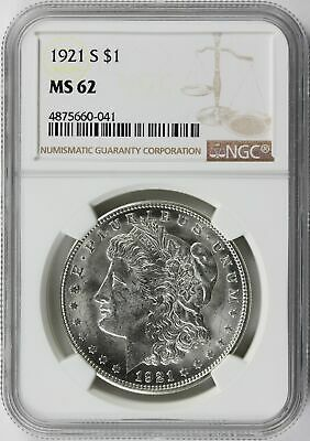 1921-S Morgan Silver Dollar $1 NGC MS62