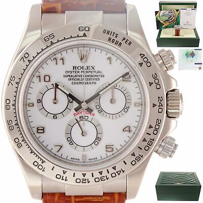 b1927dcb0ac MINT Rolex Daytona Cosmograph ENGRAVED REHAUT 116519 18k White Gold Dial  Watch