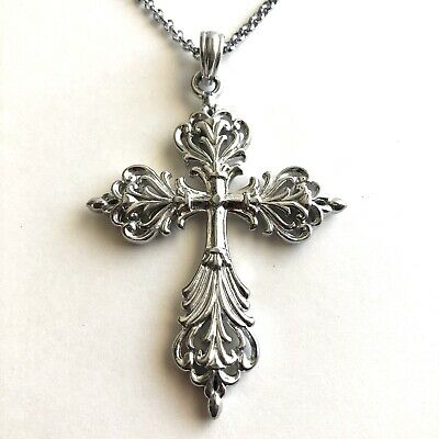 Arthur Court Necklace Aluminium Scroll Cross Big 3in Jewelry 18 to 20in Chain