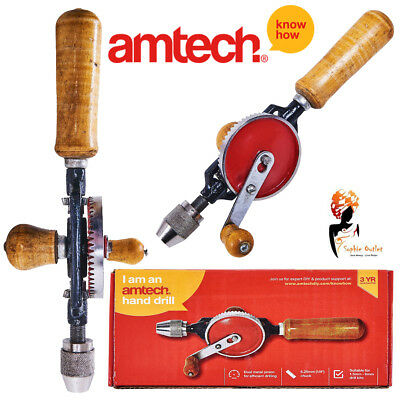 "Hand Drill Double Pinion 1/4"" Chuck Wooden Handle Drilling Crank Amtech F0300"