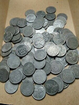 2 Full rolls (100) 1943 (Steel) Lincoln wheat pennies- nice circulated