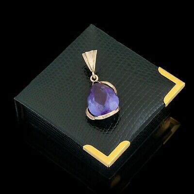 Antique Vintage Deco Retro 14k Bi Gold Color Change Corundum Alexandrite Pendant