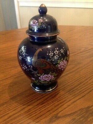 Cobalt Blue Hand Painted With Peacock In Flowering Tree Japanese Urn/jar
