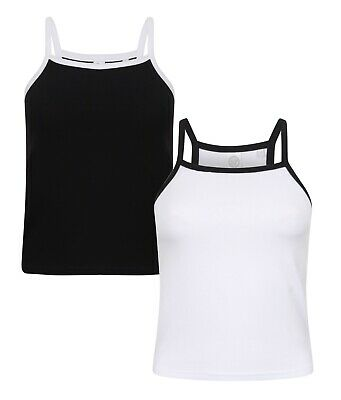 Womens Ladies Contrast Cotton Elastane Spaghetti Strappy Vest Cami Tank Top