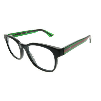 0daecd7e81 Gucci GG 0005O 002 Black Striped Green Plastic Square Eyeglasses 51mm
