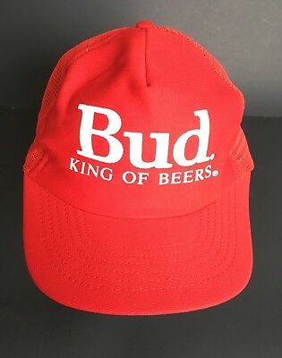 78c15cb5778e6 VTG Budweiser Bud King Of Beers Red Snapback Trucker Hat Cap Mesh Made In  USA