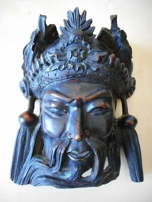 Masque bois chinois Bouddha Carved wood rosewood buddha chinese Immortal mask