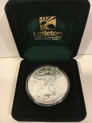 """2014 1 oz. UN-CIRCULATED  SILVER  EAGLE COIN FROM LITTLETON IN BOX. """"BEAUTIFUL"""""""
