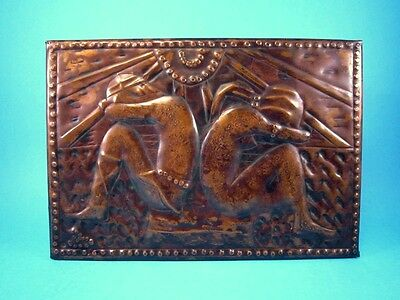 Beautiful Ussr Vintage Copper Wall Plaque, Lovely Couple!!!