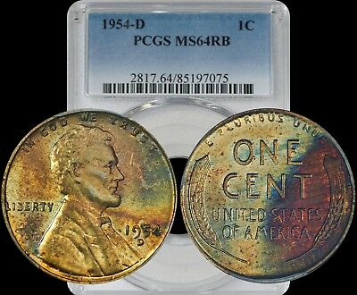 1954-D Lincoln Wheat Cent PCGS MS64 RB Yellow/Turquoise Toned Color Penny