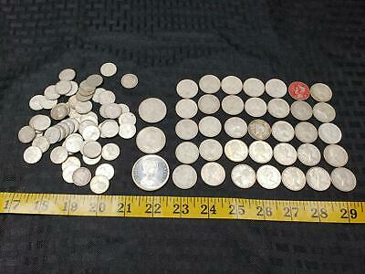 Lot of  96 Canadian Silver Coins 1 Dollar 2 Half 35 Quarter 58 Dime