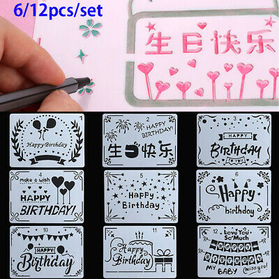 Decorative Scrapbooking Layering Stencils Painting template Happy Birthday
