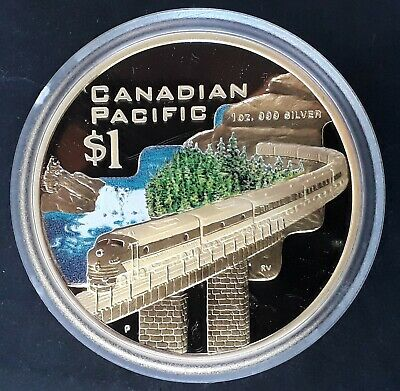 2004 Cook Islands Canadian Pacific Railway gilt  1oz Silver (.999)  $1 coin