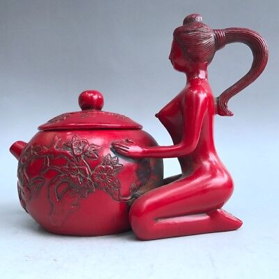 Ancient Chinese Natural Coral Exquisite Hand-Carved Beauty Image Teapot