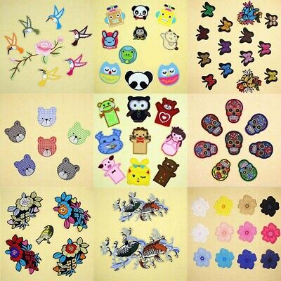 1X Embroidered Skull Bird Flower Sew Iron On Patch Badge Fabric Clothes Applique