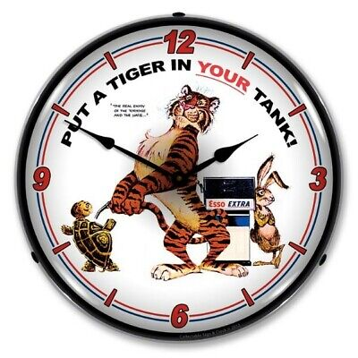 Retro Style Esso Tiger Gas Service Station Backlit LED Lighted Wall Clock