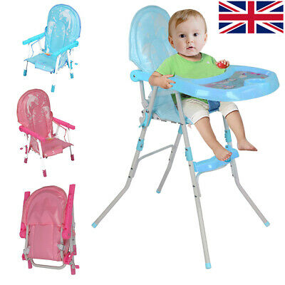 Lovely Non-Slip High Baby Feeding Chair Foldable Children Infant Boy Blue Pink
