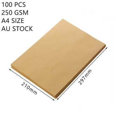 100X A4 Brown Kraft Paper Sheet Natural Recycled Blank Card 250GSM 297mmx210mm