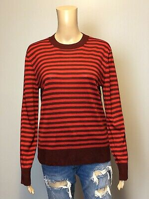 848820809e1 SONIA RYKIEL RED 100% Wool Sailor Anchor Sweater Jumper Size M ...