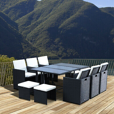 11pcs Patio Wicker Dining Set Garden Furniture Table Chair Ottoman Backyard