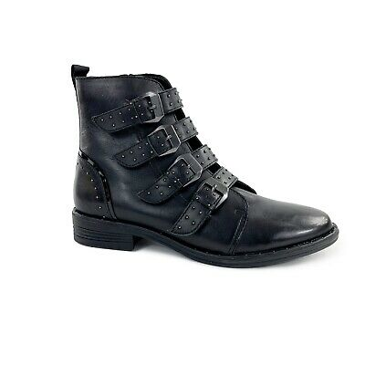 243fd36fe2b NEW Steve Madden Womens 8.5 Black Leather Pursue Buckle Motorcycle Ankle  Boots