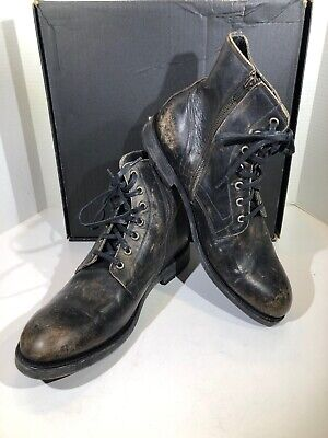 bdffdc17c73 FRYE BOWERY LACE Up Mens Sz 11 Black Distressed Leather Zip Ankle Boots  X18-1352