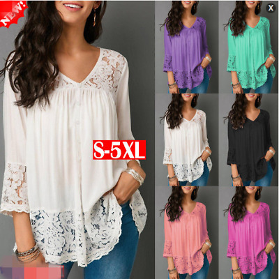 Blouse Lace Summer Plus Size Casual Tops T Shirt V-Neck Loose 3/4 Sleeve Women