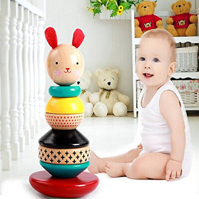 Kids Baby Wooden Rabbit Stacking Stack Up Rainbow Tower Ring Educational Toys Z
