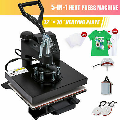"12"" x 10"" 5 in 1 Combo T-Shirt Heat Press Machine Sublimation Swing Away"