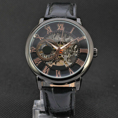 Luxury Mens Punk Skeleton Stainless Steel Automatic Mechanical Wrist Watch F#