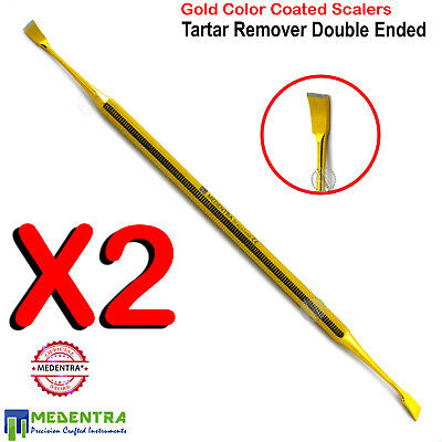 X2 Golden Dog Dental Tooth Double End Scalers Removal Tartar Plaque Dogs Cat Pet