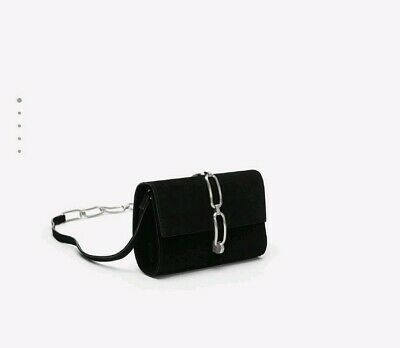 21222f3437 New With Tags Zara Black Leather Crossbody Bag Chain Link Detail Ref 5616/ 304