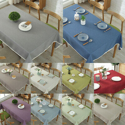 Plain Linen Tablecloth Rectangular Square Dining Room Cloths All Sizes