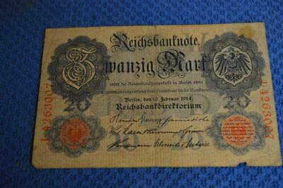 Germany German Empire Reichsbanknote 20 Mark 1914 Nice Condition