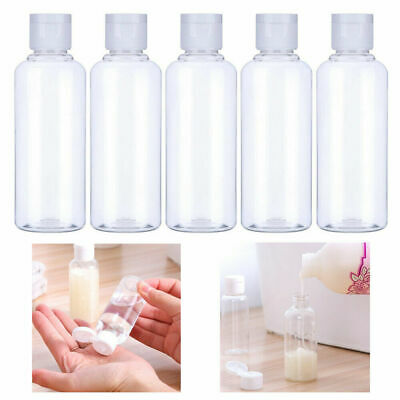 5x 100ml Small Plastic Clear Bottle Air Travel Portable Lotion Liquid Containers