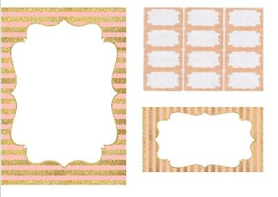 Personalised Pink And Gold Striped Stationery Set