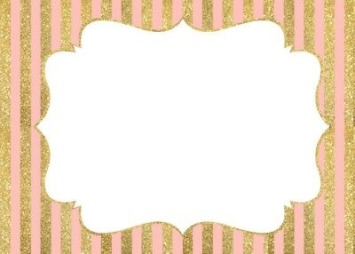 SET OF 6 X PERSONALISED 89 x120.7MM PINK AND GOLD STRIPED WINE BOTTLE LABELS