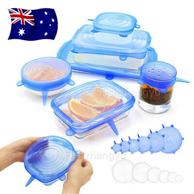 6/12PCS Reusable Food Cover Fresh Sealing Stretch Lid Container Silicone OZ